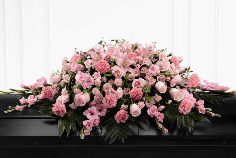 Large casket spray with pink flowers