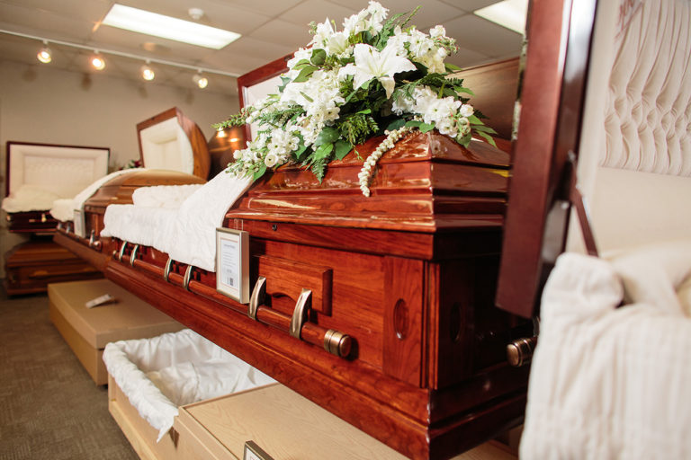 Casket Selections on site at Oliver's Funeral home, showroom of many caskets you can purchase