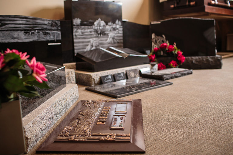 Olivers Funeral Chapel, monuments on display