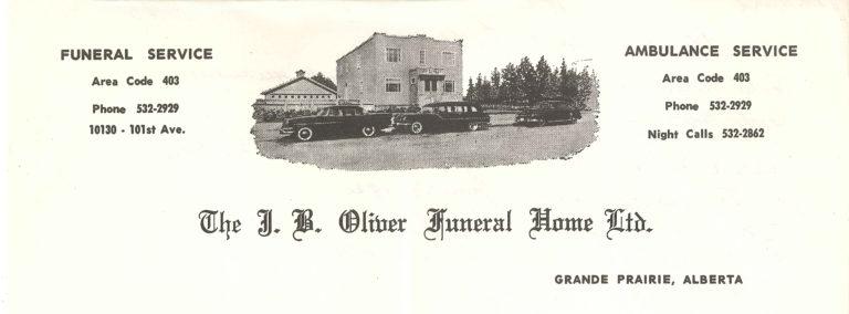 Oliver's old letterhead, THe J.B. Oliver Funeral Home LTD