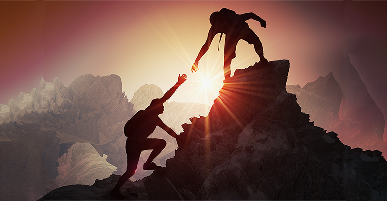 Facing Hardships together. Two people helping each other up a mountain. Grief Help