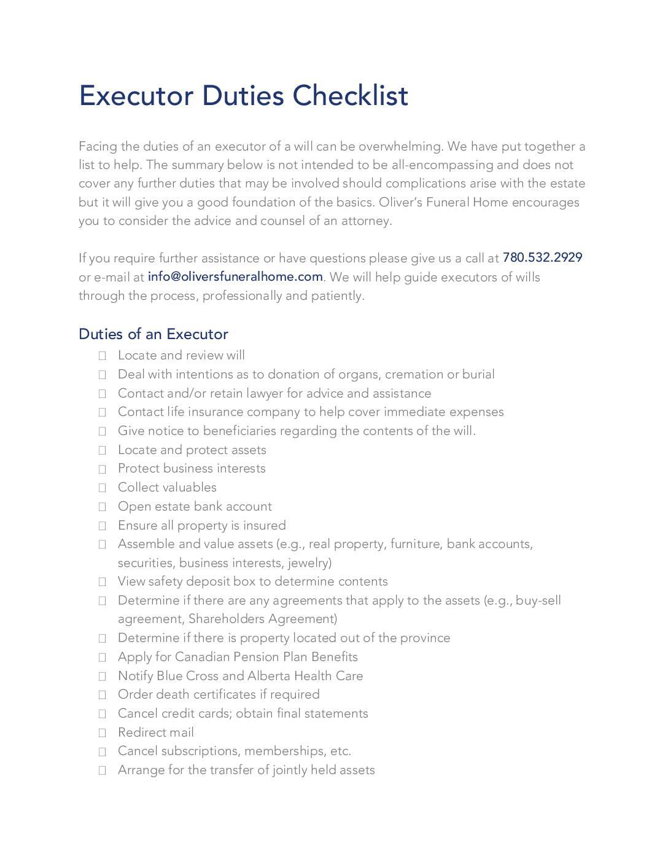 Executor Duties Checklist